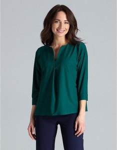 Zielona bluzka LENITIF z okrągłym dekoltem w stylu casual