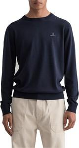 Niebieski sweter Gant z bawełny w stylu casual z okrągłym dekoltem