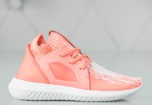 Różowe buty sportowe Adidas na koturnie w sportowym stylu tubular