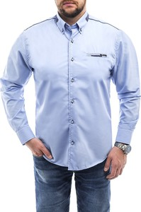 Niebieska koszula Risardi z klasycznym kołnierzykiem