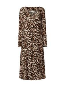 0a05700c25 Brązowa sukienka Vila z okrągłym dekoltem midi z długim rękawem