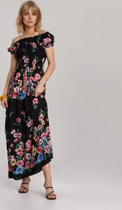 Czarna sukienka Renee z krótkim rękawem maxi