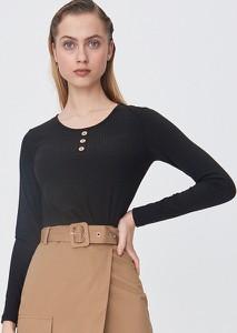 Czarna bluzka Sinsay w stylu casual z długim rękawem