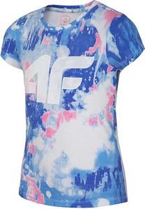 Niebieska koszulka dziecięca 4F z krótkim rękawem z bawełny