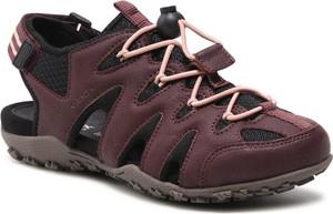 Brązowe sandały Geox ze skóry ekologicznej w stylu casual sznurowane