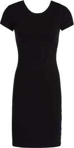 Czarna sukienka Armani Jeans z okrągłym dekoltem mini z krótkim rękawem
