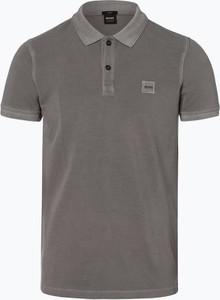 Brązowa koszulka polo BOSS Casual w stylu casual z bawełny z krótkim rękawem