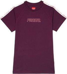 Różowy t-shirt Prosto. z krótkim rękawem z okrągłym dekoltem