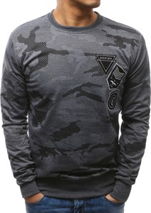 Dstreet bluza męska z nadrukiem camo antracytowa (bx3467)