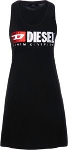 Czarna sukienka Diesel z okrągłym dekoltem mini w stylu casual