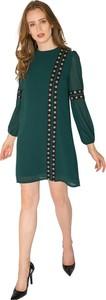 Zielona sukienka Milena Płatek mini z okrągłym dekoltem prosta