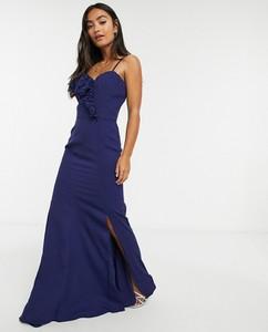 Granatowa sukienka Chi Chi London maxi