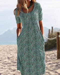 Zielona sukienka Kendallme prosta z krótkim rękawem
