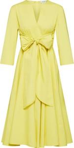 Żółta sukienka Max & Co. z długim rękawem midi z bawełny