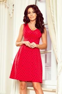 Czerwona sukienka NUMOCO bez rękawów z bawełny