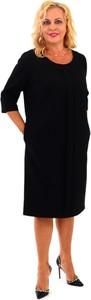 Czarna sukienka Roxana - sukienki midi z długim rękawem