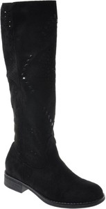 Czarne kozaki Pantofelek24 w stylu casual na zamek z zamszu