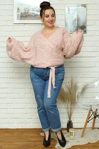 Różowy sweter KARKO z dzianiny