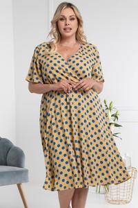 Sukienka KARKO kopertowa w stylu casual z długim rękawem
