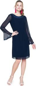 Granatowa sukienka L'AF z długim rękawem z szyfonu