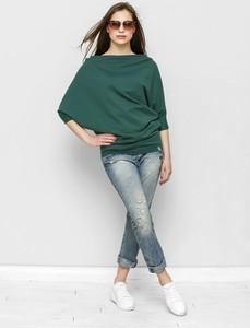 Zielona bluzka Freeshion z długim rękawem z bawełny