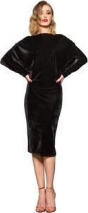 Czarna sukienka fADD midi z długim rękawem