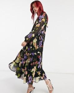Sukienka Asos z golfem maxi z długim rękawem