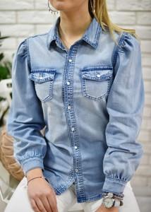 Niebieska koszula Fason z długim rękawem w stylu casual z kołnierzykiem