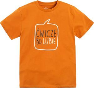 Pomarańczowa koszulka dziecięca Cool Club z krótkim rękawem dla chłopców