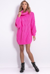 Różowa sukienka Fobya z długim rękawem w stylu casual mini