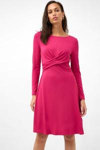 Różowa sukienka ORSAY z długim rękawem mini z okrągłym dekoltem