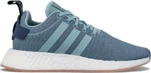 Niebieskie buty sportowe Adidas nmd z płaską podeszwą