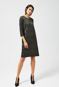 Czarna sukienka Moodo z długim rękawem w stylu casual midi