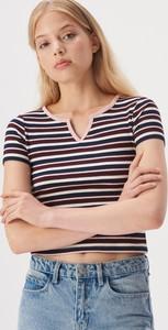 T-shirt Sinsay z krótkim rękawem z dekoltem w kształcie litery v w stylu casual