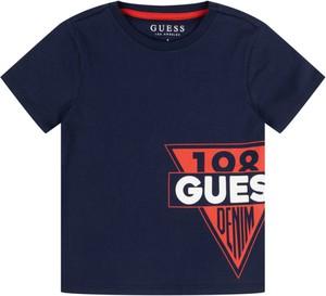 Granatowa koszulka dziecięca Guess z krótkim rękawem