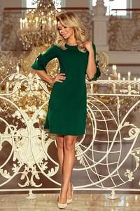 Zielona sukienka omnido.pl mini prosta z długim rękawem