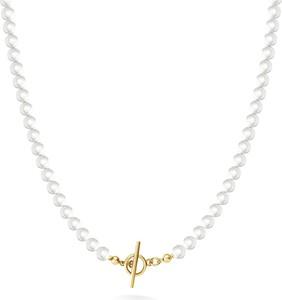 GIORRE Długi naszyjnik z pereł do podwieszania charmsów, srebro 925 : Kolor pokrycia srebra - Żółtym 18K Złotem, Perła - SWAROVSKI WHITE