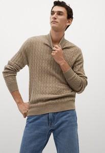 Brązowy sweter Mango Man z bawełny