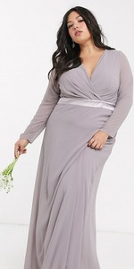Sukienka Tfnc Plus z satyny z długim rękawem