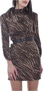 Brązowa sukienka Guess z długim rękawem w stylu casual z golfem