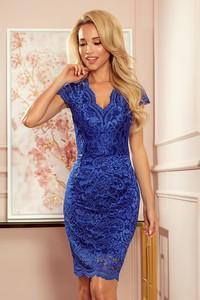 Niebieska sukienka NUMOCO z dekoltem w kształcie litery v