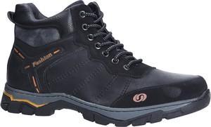 Granatowe buty zimowe Casu w sportowym stylu sznurowane