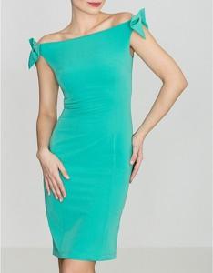Zielona sukienka LENITIF z krótkim rękawem