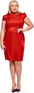 Czerwona sukienka Fokus z tkaniny dla puszystych