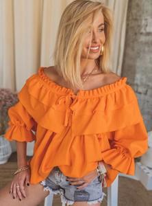 Pomarańczowa tunika SELFIEROOM z bawełny z długim rękawem