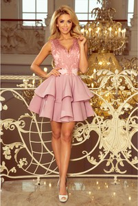 Sukienka NUMOCO z dekoltem w kształcie litery v mini bez rękawów