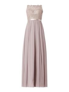 Różowa sukienka Luxuar bez rękawów z szyfonu