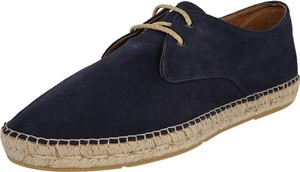 Granatowe buty letnie męskie Espadrij l´originale sznurowane z zamszu