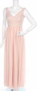 Różowa sukienka Lace & Beads rozkloszowana bez rękawów z dekoltem w kształcie litery v