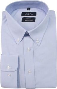 Niebieska koszula Chiao z długim rękawem z bawełny